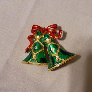 Rare vintage 70's Christmas bells pin/brooch